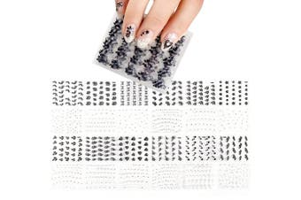 ALLYDREW Sparkly Black & White Flower Nail Art Sparkle Flower Nail Stickers (24 sheets)