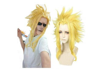 (All·Might) - Ani·Lnc Anime Blonde Cosplay Wigs Clip on Ponytail Heat Resistant Party Wigs with free cap
