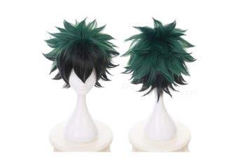 (Midoriya Izuku) - Ani·Lnc Anime Cosplay Wig Short Green Black Hair Synthetic Wigs with free Cap