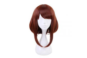 (Uraraka Ochako) - Ani·Lnc Short Brown Synthetic Cosplay Wig For Women Christmas Party Wigs with free Cap