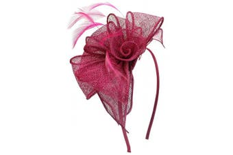 (Raspberry) - Aurora Collection Rosette and Loops Fascinator