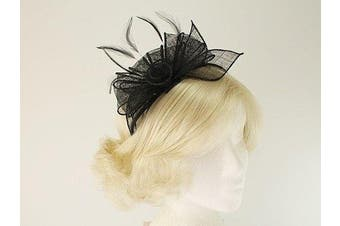 (Black) - Aurora Collection Rosette and Loops Fascinator