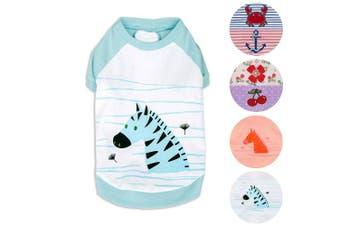 """(Back Length 20cm, Pack of 1 - Aquamarine) - Blueberry Pet Henry the Zebra Cotton Dog Shirt in Aquamarine for Puppy, Back Length 8""""/20cm, Pack of 1 Clothes for Dogs"""