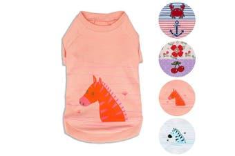 "(Back Length 20cm, Pack of 1 - Light Apricot) - Blueberry Pet Henry the Zebra Cotton Dog Shirt in Light Apricot for Puppy, Back Length 8""/20cm, Pack of 1 Clothes for Dogs"