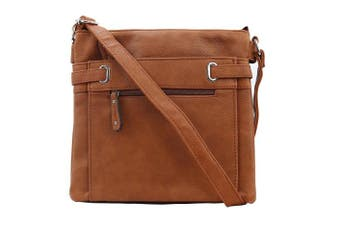 (Tan) - Womens Medium Multi Pocket Compartment Trendy Messenger Cross Body Shoulder Bag and Handbags for Ladies
