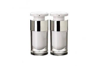 (15ML) - 2PCS 15ml/30ml/50ml Empty Refillable White Acrylic High-grade Airless Vacuum Pump Cream Lotion Foundation Bottle Dispenser Vial Travel Cream Lotion Toner Container Pot (15ML)