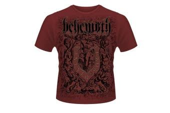(XX-Large, Red (Maroon)) - Behemoth Men's Furor Divinus Banded Collar Short Sleeve T-Shirt