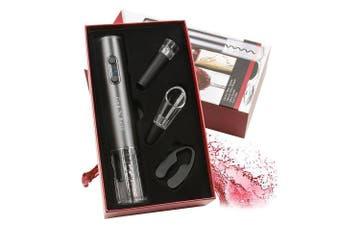 (Silver) - Cork N' Bottle Premium Electric Wine Opener 4 Piece Gift Set (Silver)