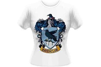 (Size 14 (Manufacturer Size:X-Large), White) - Plastic Head Women's Harry Potter Ravenclaw GTS Banded Collar Short Sleeve T-Shirt
