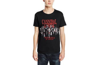 (Medium, Black) - Plastic Head Men's Cannibal Corpse Butchered At Birth 2015 Banded Collar Short Sleeve T-Shirt
