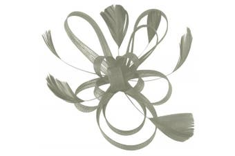 (Silver) - Aurora Collection Fascinator with Loops and Feathers