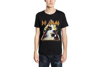 (Small, Black) - Plastic Head Men's Def Leppard Hysteria Banded Collar Short Sleeve T-Shirt