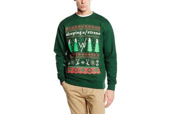 (Medium, Green) - Plastic Head Men's Sleeping With Sirens Christmas Trees CS Long Sleeve Sweatshirt