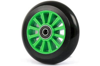 (Green, 2 WHEELS) - Two Bare Feet 100mm WHEELS FOR STUNT SCOOTER + ABEC9 bearings fits JD Bug Razor