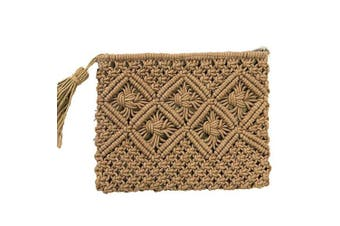 (Pt7) - Abuyall Girl Vintage Crochet Clutch Woven Beach Envelope Straw Summer Tassel Bag