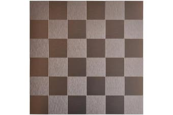 (A16112) - Art3d Peel & Stick Metal Tile Mosaics, 30cm X 30cm Brush Aluminium Copper (5 Tiles)