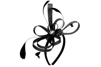 (Black) - Aurora Collection Fascinator with Loops and Gem