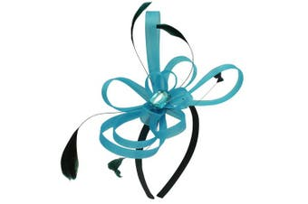 (Turquoise) - Aurora Collection Fascinator with Loops and Gem