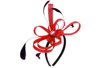 (Red) - Aurora Collection Fascinator with Loops and Gem