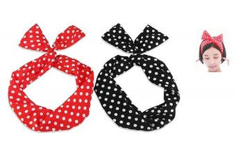 Amcho Wire Headband, Twist Retro Bowknot Polka Dot Wire Hair Holders for Women and Girls 2PCS