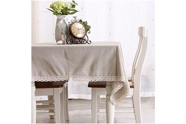 (140cm  x 200cm , Simple White) - Enova Home Natural Simple Rectangle Cotton and Linen Washable Tablecloth, Lace Table Cloth Cover with Pattern Printed for Kitchen Dinning Tabletop (140cm x 200cm , Simple White)