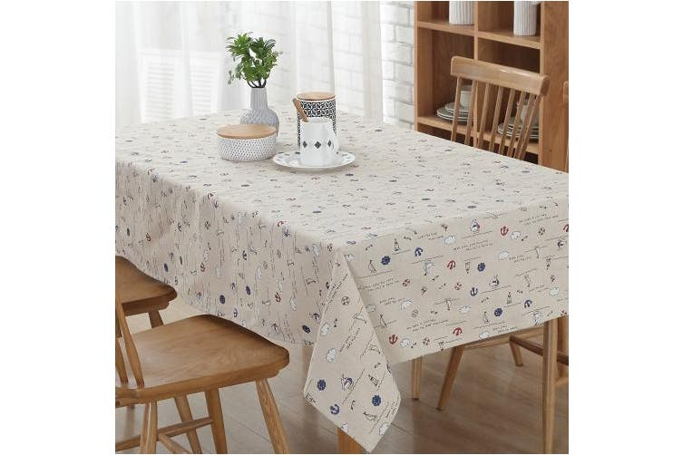 (140cm  x 180cm , White Sailing) - Enova Home Natural Simple Rectangle Cotton and Linen Washable Tablecloth, Lace Table Cloth Cover with Pattern Printed for Kitchen Dinning Tabletop (140cm x 180cm , White Sailing)
