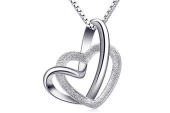 """B.Catcher Heart to Heart Silver Necklace for Women, 925 Sterling Silver Pendant Necklaces Mother's Day Gift Packed,18"""""""