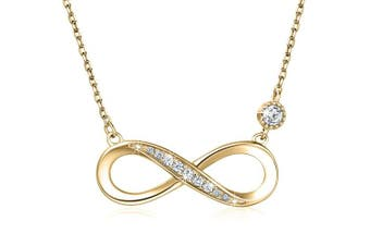"(C-gold) - 925 Sterling Silver Necklace – Billie Bijoux ""Endless Love"" Infinity Heart Pendant White Gold Plated Diamond Women Adjustable Necklace"
