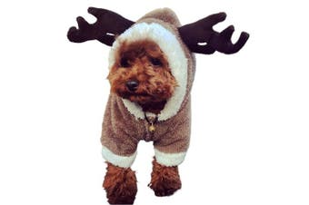 (XS) - LUCKSTAR Dog Clothes - Pet Clothes Elk Costume Christmas Elk Moose Cool Cute Pet Cosplay Soft Warm Coral Fleece Pet Hoodie Coat Winter Clothing Jumpsuit for Christmas Party Gifts Pet Supplies