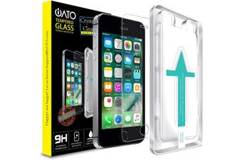 (iPhone SE/5/5c/5s) - iATO iPhone SE / 5s / 5 / 5c Screen Protector. Shatterproof & Scratchproof Tempered Glass Screen Protector for Phone Drop Screen Protection with Easy Installation Kit for iPhone SE / 5s / 5 / 5c