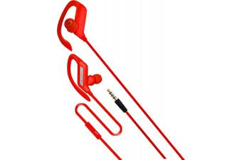 (Red) - Coby Built-In Mic, Sweat Resistant, Tangle-Free Flat Cable Headphone, CVE-405-RED, Red