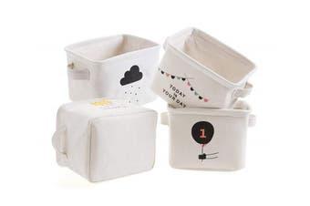 (Cream) - Foldable Small Storage Baskets Square Cotton Fabric Storage Bins Desk Shelf Basket Organiser, Set of 4 (Cream)