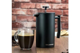 (1010ml) - French Press Coffee Maker with Extra Filters for a Richer and Fuller Coffee Flavour, Designed with Double Wall Black Stainless Steel to Preserve Hot Coffee Temperature (1010ml)