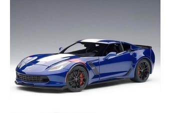 2017 Chevrolet Corvette Grand Sport Admiral Blue with White Stripe and Red Fender Hash Marks 1/18 Model Car by Autoart 71275