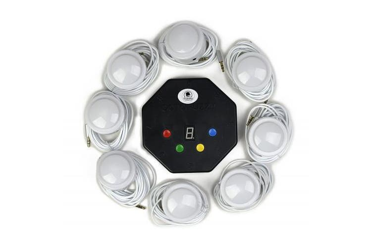 (System 2nd Gen) - Quiz Answer Game Buzzer Standalone System w/ LED Light buttons 8-Player 0.9m cables Who's first (System 2nd Gen)