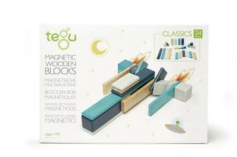 (24 piece set, Blues) - 24 Piece Tegu Magnetic Wooden Block Set, Blues