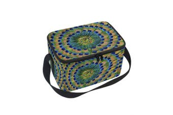 (10x 7inches x 15cm ) - ALAZA Peacock Feather Insulated Lunch Bag Box Cooler Bag Reusable Tote Bag Outdoor Travel Picnic Bag With Shoulder Strap for Women Men Adults Kids