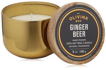 (150ml, Ginger Beer) - Olivina Men Soy Wax Candle Brass, Ginger Beer, 150ml