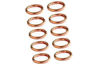 (2.5cm  - 0.6cm , Rose Gold) - WEICHUAN 10PCS Spring Clip Round Carabiner- 2.5cm - 0.6cm Gate O Ring Round Carabiner Snap Clip Trigger Spring Keyring Buckle Organising Accessory/Metal Secure Holder/ Durable and Rust-Proof (Rose Gold)