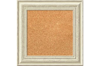 (17 x 17) - Framed Cork Board, Choose Your Custom Size, Country White Wash Wood