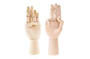 (left+right hand) - Greatstar 30cm Art Mannequin Hand,Wooden Flexible Left/Right Hand for Home Office Desk Joints Kids Children Toys Gift For Drawing, Sketching, Painting Etc (left+right hand)