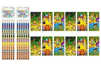 12 X Jungle Animals Notebooks & Jungle Animals Pencils