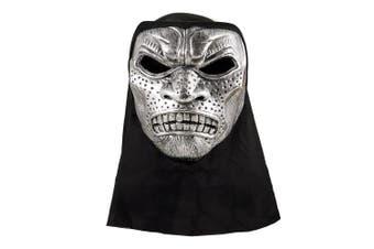 (Silver) - Blue Banana Metallic Warrior Mask With Hood (Silver/Black)