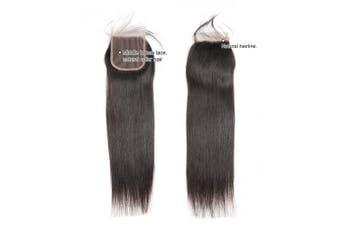(20) - Ali Pearl 8A Brazilian Human Hair Straight 4x4 Lace Closure Free Part Human Hair Extension Natural Black (20)