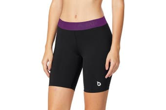 (Small, Black/Purple) - BALEAF Women's 10cm / 18cm Compression Running Shorts Volleyball Workout Shorts Pocket