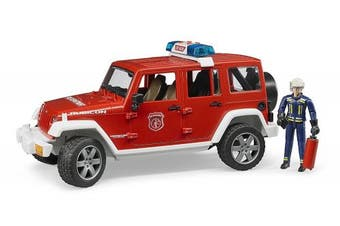 Bruder 02528 - Jeep Wrangler Unlimited Rubicon Fire Engine Emergency Vehicle with Fireman