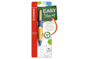 Including 3 STABILO EASYergo 1.4 Leads-Fine-HB Mechanical Pencil Left-Handed Ergonomic Ultramarine and Neon Orange-Single