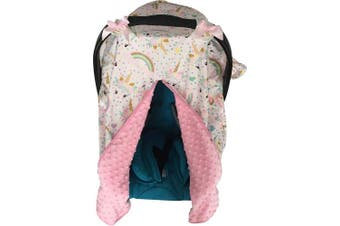 Unicorn Print Baby Car Seat Cover Nursing Cover Carseat Canopy Pink