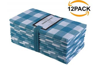 (Napkins 20x20, Teal White Napkins) - Cotton Clinic 20x20 Gingham Buffalo Cheque Cloth Dinner Napkins Pack of 12, 100% Cotton Cocktail Napkins, Wedding Dinner Napkins with Mitered Corners and Generous Hem - Teal White