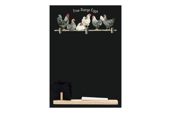 (Free Range Eggs) - Chalkboards UK Small Memo Board/Chalkboard/Blackboard/Kitchen Chalk Board with Printed Free Range Eggs Design. Plus Tray, Piece of chalk & Felt Eraser. From Booth Design Range, Wood, Black, 29.7 x 20.7 x 1 cm